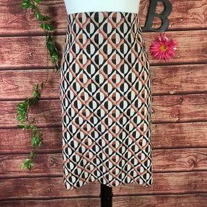 Nine West Skirt 16 Orange Brown Circles Stretch